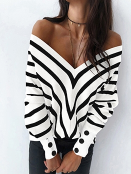V Neck Loose Long Sleeve Striped Sweater