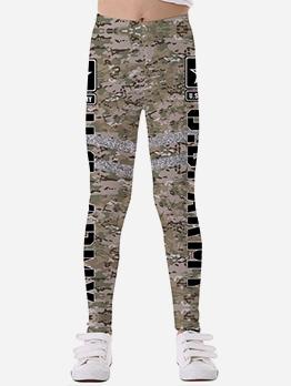 Camouflage Print Skinny Leggings For Girls