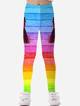 Color Block Mid Waist Leggings For Girls
