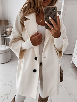 Solid Casual Plush Winter Long Coat