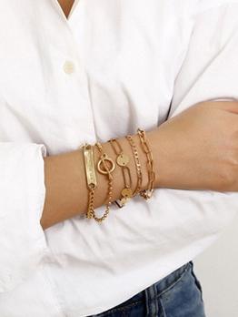 Personality Geometric Letter Hand Bracelet Set