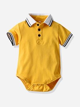 Turndown Collar Short Sleeve Baby Rompers