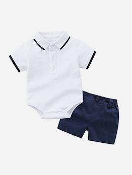 Short Sleeve Polo Romper Boys Short Sets
