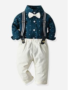 Star Print Long Sleeve Boys 2 Piece Outfits