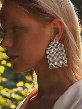 Alloy Material Geometric Rhinestone Earrings For Women