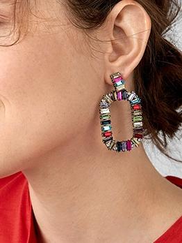 Rainbow Series Simple Alloy Material Earrings
