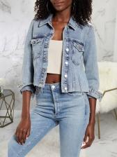 Single-Breasted Short Denim Coat For Women
