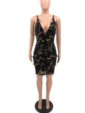 Tassel Detail Deep V Neck Sequin Mini Dress