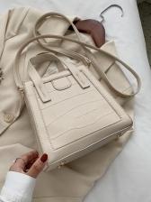Trapezoidal Stone Grain Solid Color Ladies Shoulder Bags
