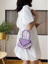 Draped Handle Faux Pearls Solid Ladies Handbags