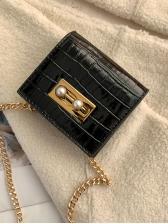 Stone Grain Solid Color Chain Mini Crossbody Bags