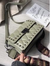 Rivets Removable Wide Belt Rectangle Shoulder Bags