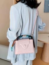 Silk Scarf Decorated Stone Grain Shoulder Bag