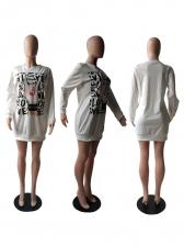 Street Wear Long Sleeve Printed T-Shirt Dress