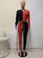 Contrast Color Long Sleeve Womens Tracksuit Set