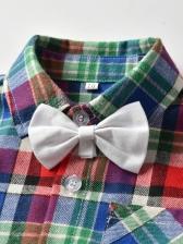 Vintage Cotton Plaid Boys Two Piece Outfits