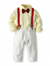 Stylish Yellow Boys Suspender Pants 2 Piece Outfits