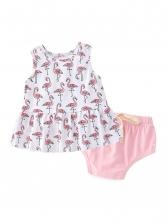 Crane Print Sleeveless Kids Dress With Panties