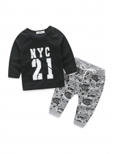 Letter Print Long Sleeve Casual Boys Two Piece Outfits