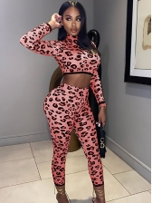Night Club Leopard Printed Two Piece Pants Set