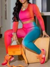 Gradient Color Plus Size Two Piece Outfits
