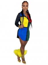Fashion Color Matching Women Shirt Dress