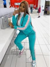 Color Splicing Fashion Women Long Tracksuit Set