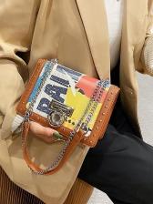 Street Trendy Graffiti Print Women Shoulder Bag