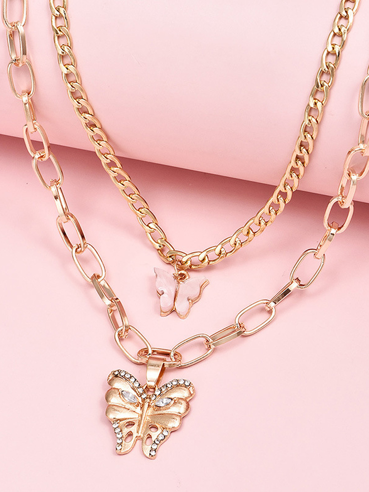 Sweet Rhinestone Butterfly Pendant Layered Necklace For Street