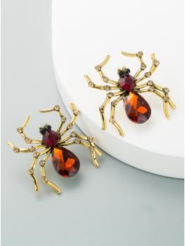 Creative Spider Shape Rhinestone Women Earrings