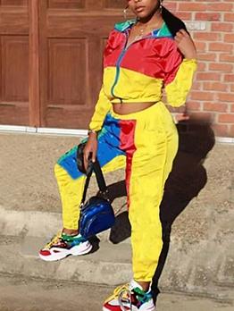 Sporty Color Block Women Cheap Tracksuits