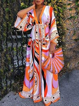Bohemian Printed Long Sleeve Maxi Dress