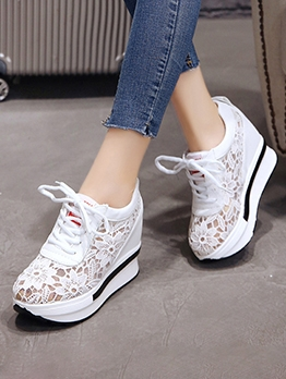 Sporty Lace Patchwork Height Elevator Shoes