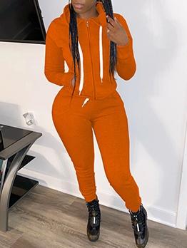 Plain Solid Hooded Collar Zipper Up Trouser Sets