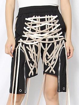 Boutique Multiple Strings Irregular Short Pants