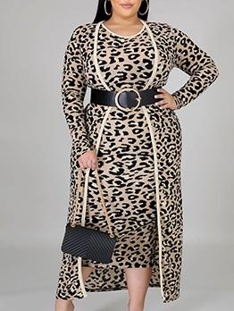Leopard Printed Long Sleeve Two Piece Dress Set
