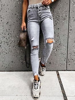 Fashion Distressed Ripped Jeans For Women