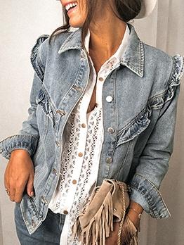 Hot Sale StringySelvedge Women Denim Jacket