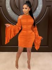 Open Shoulder Orange Draped Long Sleeve Dress