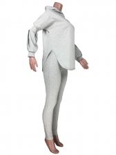 Plain Split Hem Hoodie Two Piece Pants Set