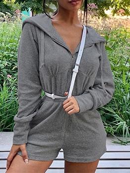 Solid Zipper Up Hooded Long Sleeve Romper