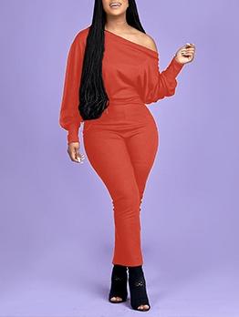 Inclined Shoulder Solid Color Long Sleeve Jumpsuit