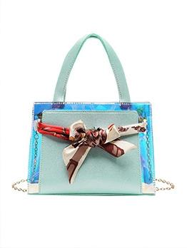 Silk Scarf Decor Shoulder Bag With Handle