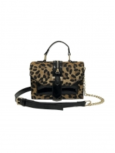 Patchwork Removable Chain Shoulder Bag With Handle