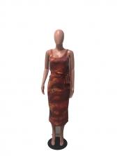 Tie Wrap U Neck Sleeveless Tie Dye Maxi Dress