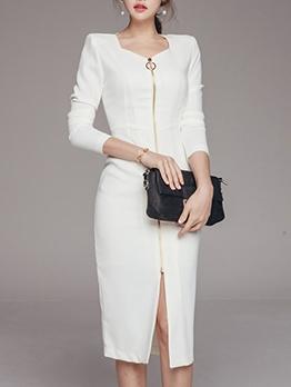 OL Style Front Zipper Solid Slim Ladies Dress