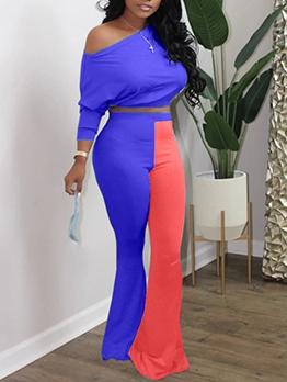 Contrast Color Bat Sleeve Women Pants Sets
