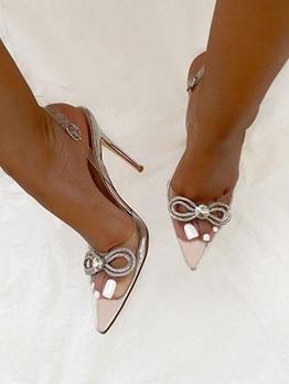 Fashion Rhinestone Bow Stiletto High Heel Sandals