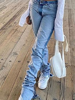 High Waist Irregular Fitted Denim Jeans
