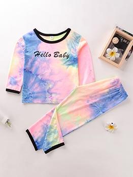 Letter Print Tie Dye Long Sleeve 2 Piece Girls Set